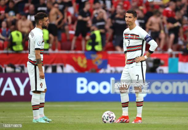 Cristiano Ronaldo of Portugal reacts before the start of the second half during the UEFA Euro 2020 Championship Group F match between Hungary and...