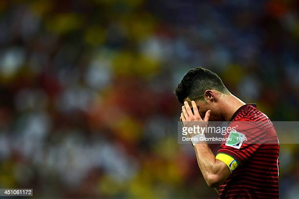 Cristiano Ronaldo of Portugal reacts during the 2014 FIFA World Cup Brazil Group G match between USA and Portugal at Arena Amazonia on June 22, 2014...