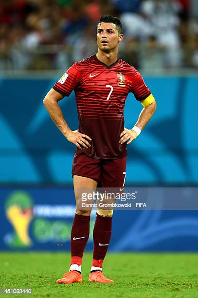 Cristiano Ronaldo of Portugal reacts during the 2014 FIFA World Cup Brazil Group G match between USA and Portugal at Arena Amazonia on June 22 2014...