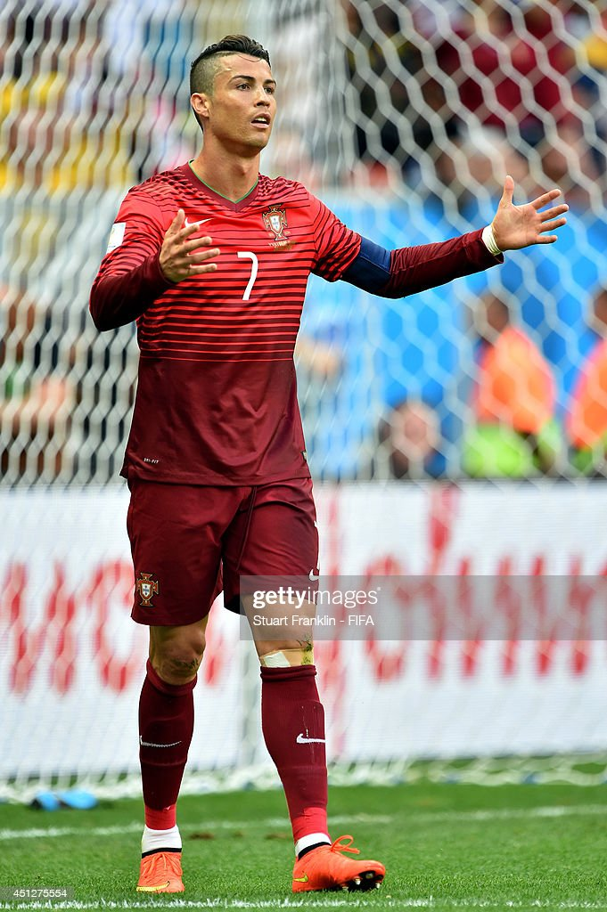 Cristiano Ronaldo of Portugal reacts during the 2014 FIFA World Cup Brazil Group G match between Portugal and Ghana at Estadio Nacional on June 26, 2014 in Brasilia, Brazil.