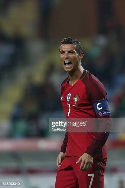 Cristiano Ronaldo of Portugal reacts during the 2018 FIFA World Cup Qualifiers matches between Portugal and Andorra in Municipal de Aveiro Stadium on...
