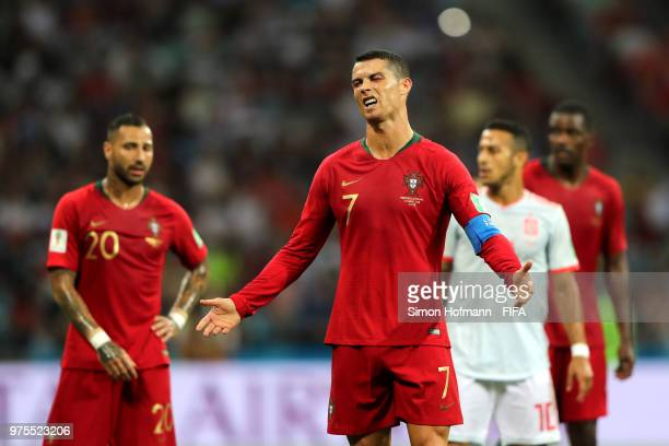 Cristiano Ronaldo of Portugal reacts during the 2018 FIFA World Cup Russia group B match between Portugal and Spain at Fisht Stadium on June 15 2018...