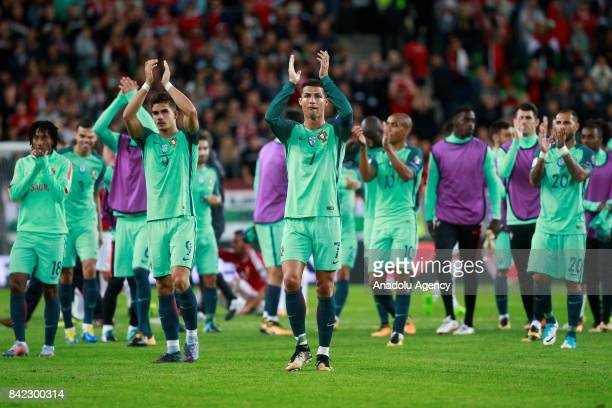 Cristiano Ronaldo of Portugal reacts during the FIFA 2018 World Cup Qualifier match between Hungary and Portugal at Groupama Arena on September 3...