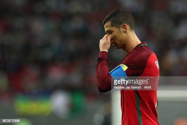 Cristiano Ronaldo of Portugal reacts during the FIFA Confederations Cup Russia 2017 SemiFinal match between Portugal and Chile at Kazan Arena on June...