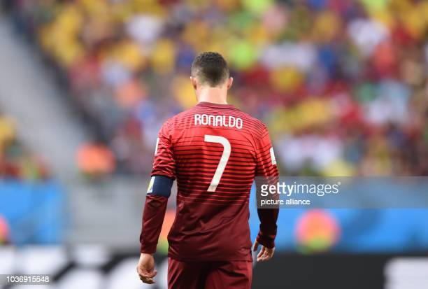 Cristiano Ronaldo of Portugal reacts during the FIFA World Cup 2014 group G preliminary round match between Portugal and Ghana at the Estadio...