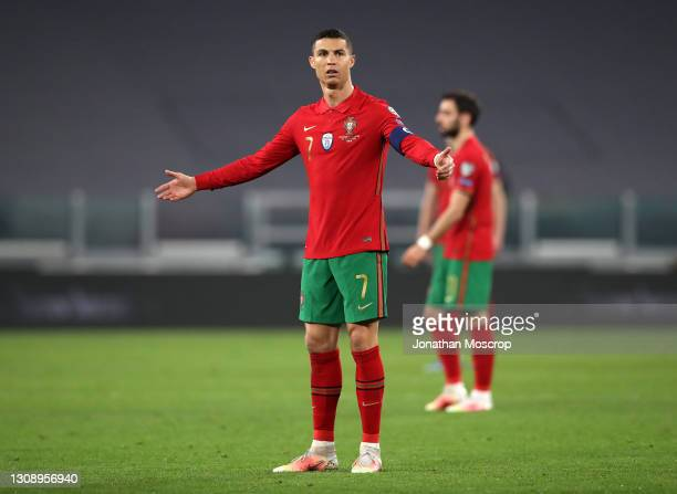 Cristiano Ronaldo of Portugal reacts during the FIFA World Cup 2022 Qatar qualifying match between Portugal and Azerbaijan on March 24, 2021 in...