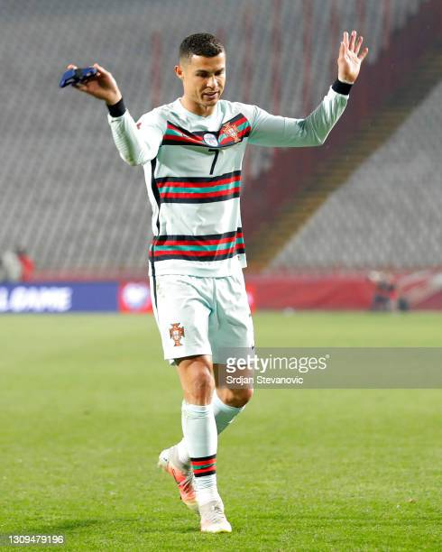 Cristiano Ronaldo of Portugal reacts during the FIFA World Cup 2022 Qatar qualifying match between Serbia and Portugal at FK Crvena Zvezda stadium on...