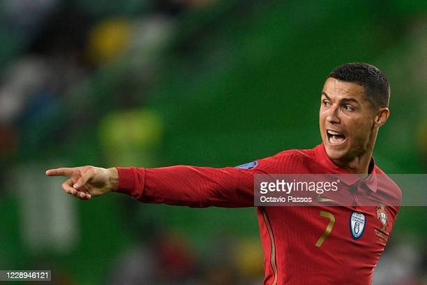 Cristiano Ronaldo of Portugal reacts during the international friendly match between Portugal and Spain at Estadio Jose Alvalade on October 7, 2020...