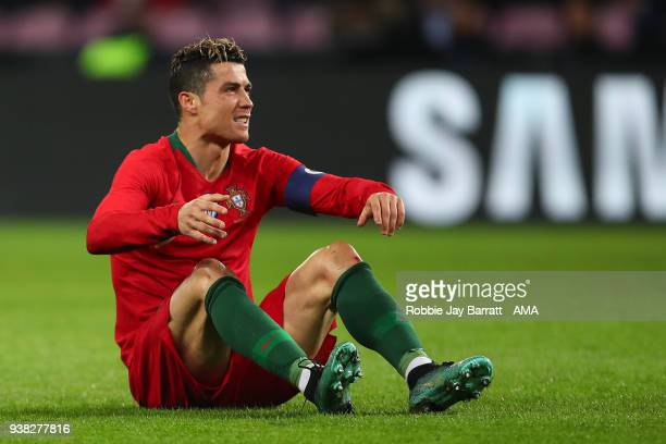 Cristiano Ronaldo of Portugal reacts during the International Friendly match between Portugal and Holland at Stade de Geneve on March 26, 2018 in...