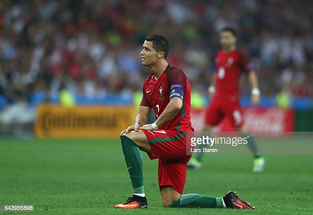 Cristiano Ronaldo of Portugal reacts during the UEFA EURO 2016 quarter final match between Poland and Portugal at Stade Velodrome on June 30 2016 in...