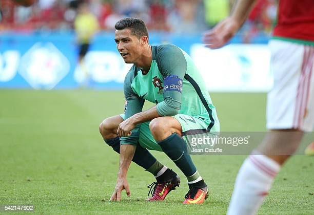 Cristiano Ronaldo of Portugal reacts during the UEFA EURO 2016 Group F match between Hungary and Portugal at Stade des Lumieres on June 22 2016 in...