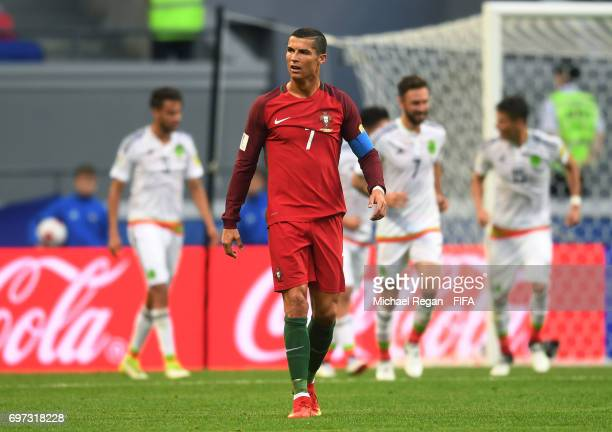 Cristiano Ronaldo of Portugal reacts to Mexico scoring their sides second goal during the FIFA Confederations Cup Russia 2017 Group A match between...