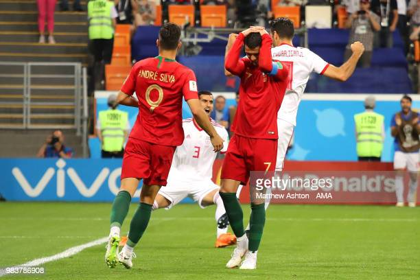 Cristiano Ronaldo of Portugal reacts to missing a penalty during the 2018 FIFA World Cup Russia group B match between Iran and Portugal at Mordovia...
