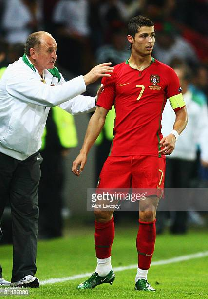 Cristiano Ronaldo of Portugal receives instructions by head coach Luiz Felipe Scolari during the UEFA EURO 2008 Group A match between Portugal and...