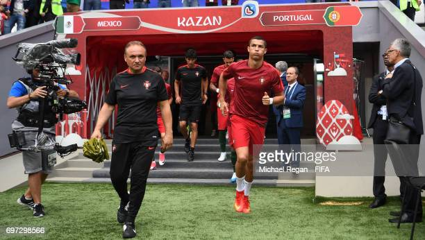 Cristiano Ronaldo of Portugal runs from the tunnel for the warm up prior to the FIFA Confederations Cup Russia 2017 Group A match between Portugal...