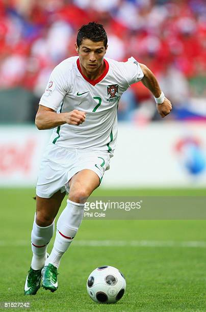 Cristiano Ronaldo of Portugal runs with the ball during the UEFA EURO 2008 Group A match between Czech Republic and Portugal at Stade de Geneve on...
