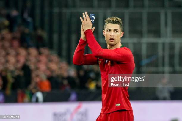 Cristiano Ronaldo of Portugal salutes to the crowd after the International Friendly between Portugal and Egypt at the Letzigrund Stadium on March 23...