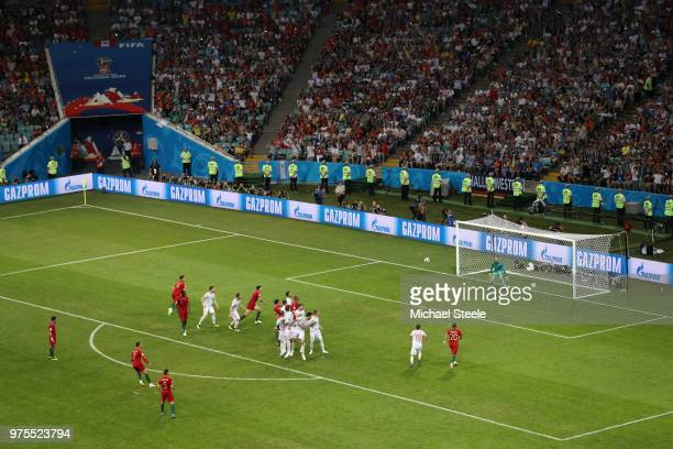 Cristiano Ronaldo of Portugal scores a freekick for his team's third goal during the 2018 FIFA World Cup Russia group B match between Portugal and...