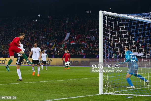 Cristiano Ronaldo of Portugal scores a goal to make it 11 during the International Friendly match between Portugal and Egypt at Stadion Letzigrund on...