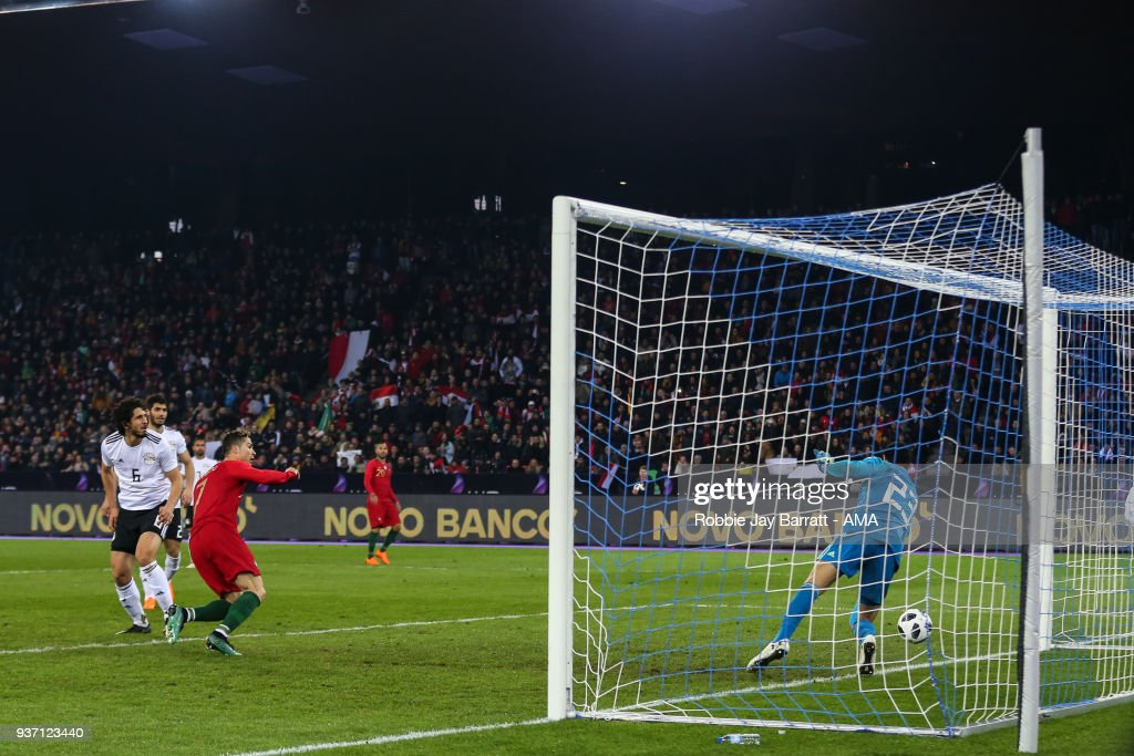 Cristiano Ronaldo of Portugal scores a goal to make it 1-1 during the International Friendly match between Portugal and Egypt at Stadion Letzigrund on March 23, 2018 in Zurich, Switzerland.