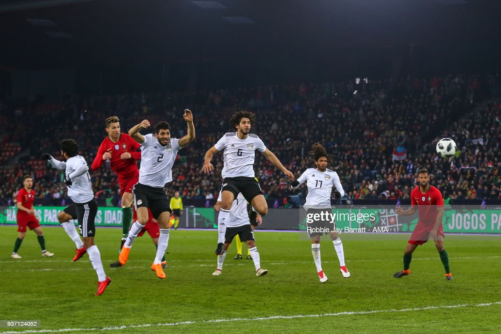 Cristiano Ronaldo of Portugal scores a goal to make it 2-1 during the International Friendly match between Portugal and Egypt at Stadion Letzigrund on March 23, 2018 in Zurich, Switzerland.
