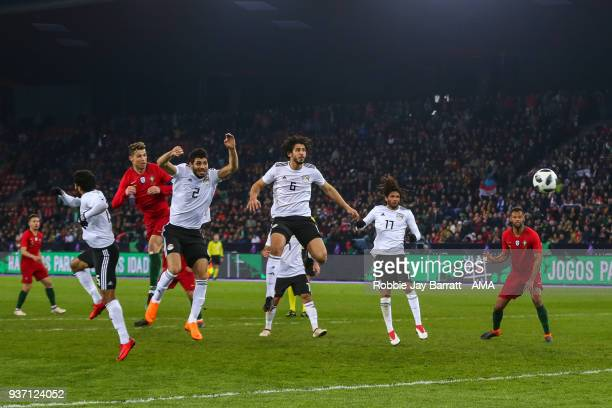 Cristiano Ronaldo of Portugal scores a goal to make it 21 during the International Friendly match between Portugal and Egypt at Stadion Letzigrund on...