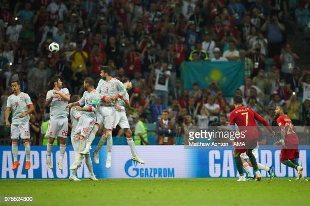 Cristiano Ronaldo of Portugal scores a goal to make it 33 during the 2018 FIFA World Cup Russia group B match between Portugal and Spain at Fisht...