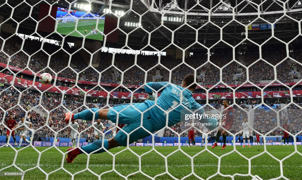 Cristiano Ronaldo of Portugal scores his sides first goal from the penalty spot past Stefan Marinovic of New Zealand during the FIFA Confederations Cup Russia 2017 Group A match between New Zealand and Portugal at Saint Petersburg Stadium on June 24, 2017 in Saint Petersburg, Russia.