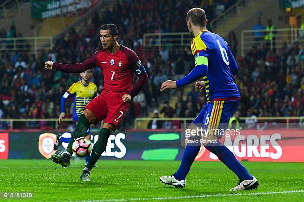 Cristiano Ronaldo of Portugal scores his team's fourth goal during the FIFA 2018 World Cup Qualifier between Portugal and Andorra at Estadio...