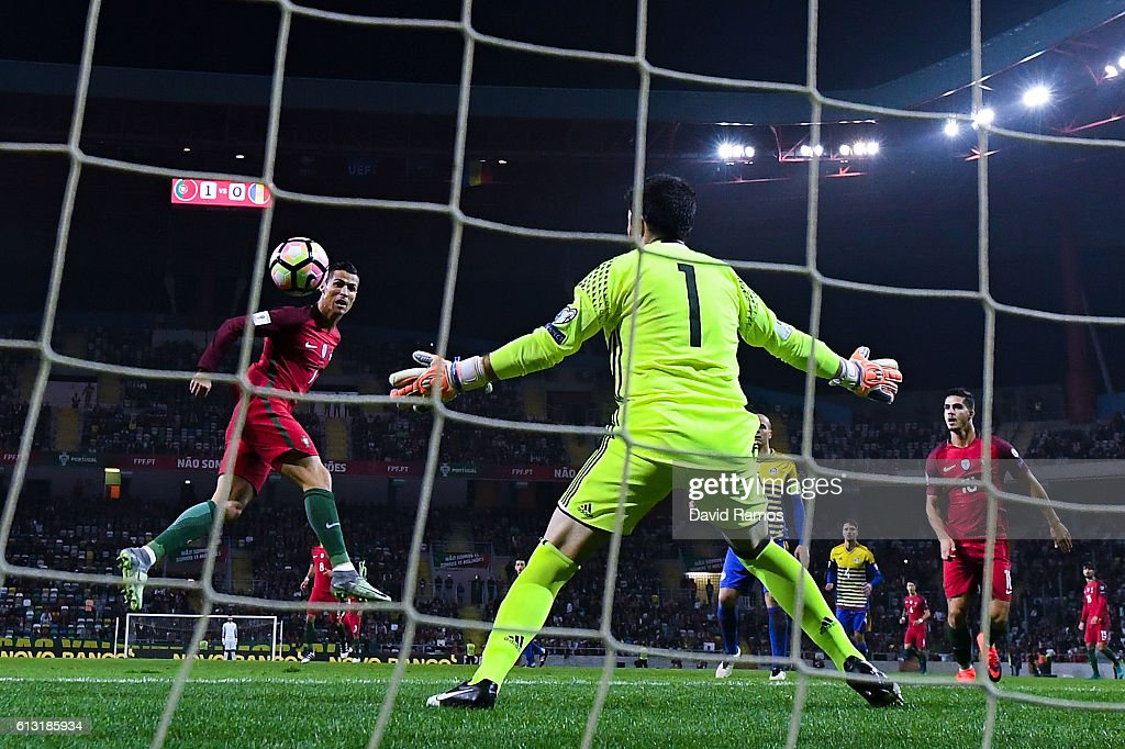 Cristiano Ronaldo of Portugal scores his team's second goal during the FIFA 2018 World Cup Qualifier between Portugal and Andorra at Estadio Municipal de Aveiro on October 7, 2016 in Aveiro, Portugal.