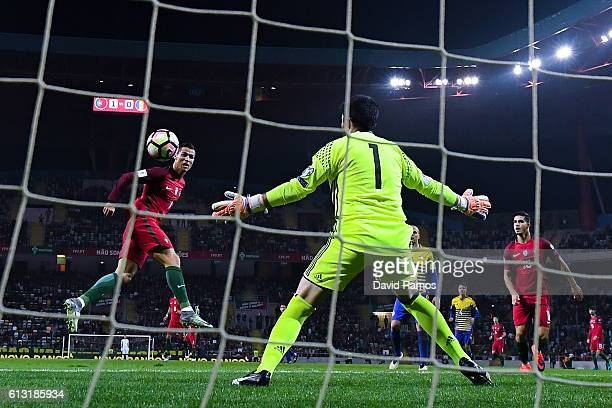 Cristiano Ronaldo of Portugal scores his team's second goal during the FIFA 2018 World Cup Qualifier between Portugal and Andorra at Estadio...