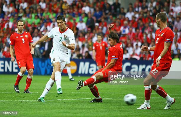 Cristiano Ronaldo of Portugal scores his team's second goal during the UEFA EURO 2008 Group A match between Czech Republic and Portugal at Stade de...