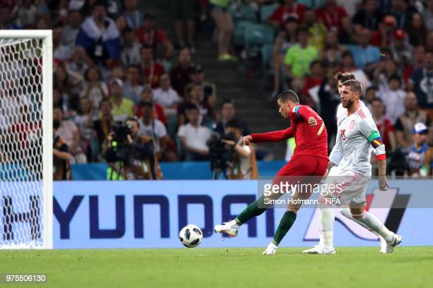 Cristiano Ronaldo of Portugal scores his team's second goal during the 2018 FIFA World Cup Russia group B match between Portugal and Spain at Fisht...