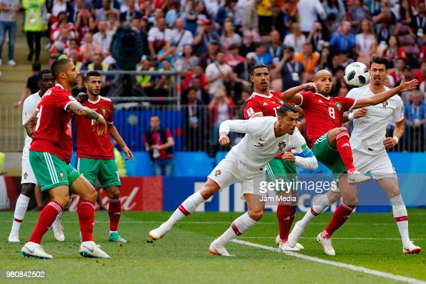 Cristiano Ronaldo of Portugal scores the first goal of his team during the 2018 FIFA World Cup Russia group B match between Portugal and Morocco at...