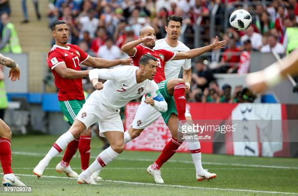Cristiano Ronaldo of Portugal scores the winning goal during the 2018 FIFA World Cup Russia group B match between Portugal and Morocco at Luzhniki...