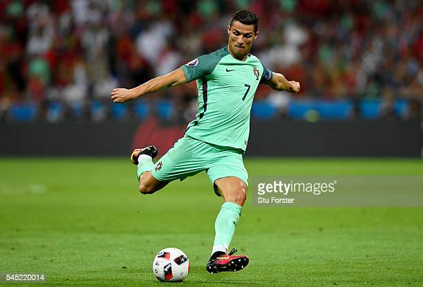Cristiano Ronaldo of Portugal shoots at goal to set up the second goal by Nani during the UEFA EURO 2016 semi final match between Portugal and Wales...