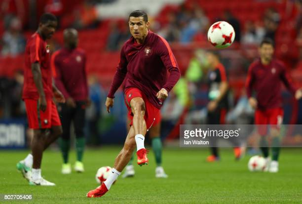 Cristiano Ronaldo of Portugal shoots while warming up prior to the FIFA Confederations Cup Russia 2017 SemiFinal between Portugal and Chile at Kazan...