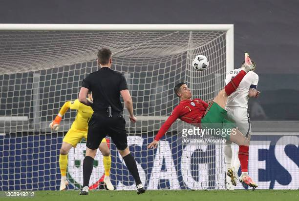 Cristiano Ronaldo of Portugal shoots with an overhead kick during the FIFA World Cup 2022 Qatar qualifying match between Portugal and Azerbaijan on...