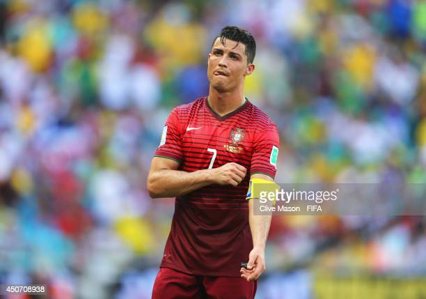 Cristiano Ronaldo of Portugal shows his dejection after the first half during the 2014 FIFA World Cup Brazil Group G match between Germany and...