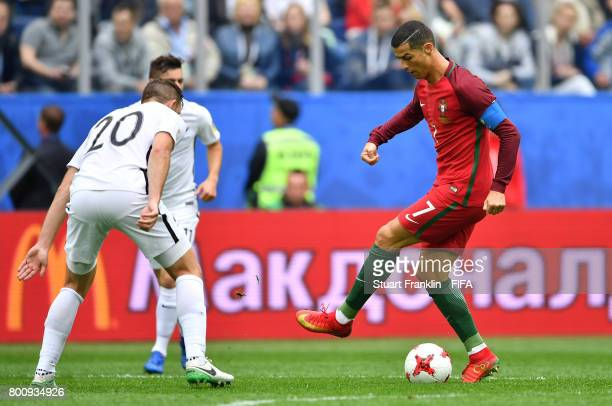 Cristiano Ronaldo of Portugal shows off his skills during the FIFA Confederation Cup Group A match between New Zealand and Portugal at Saint...