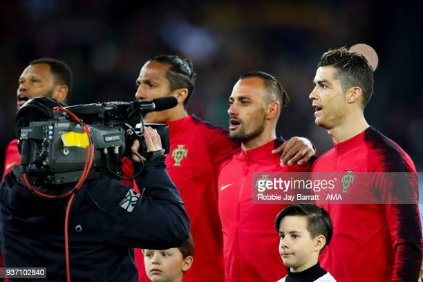 Cristiano Ronaldo of Portugal signs the national anthem during the International Friendly match between Egypt and Portugal at Stadion Letzigrund on...