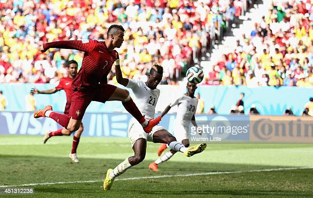 Cristiano Ronaldo of Portugal strikes unsuccessfully at goal during the 2014 FIFA World Cup Brazil Group G match between Portugal v Ghana at Estadio...