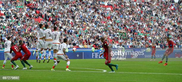 Cristiano Ronaldo of Portugal takes a free kick during the FIFA Confederations Cup Russia 2017 Group A match between Portugal and Mexico at Kazan...