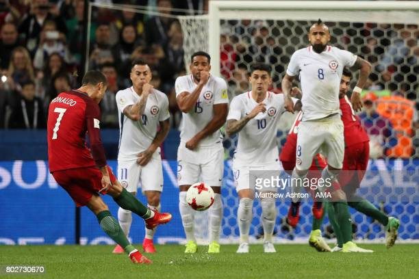 Cristiano Ronaldo of Portugal takes a free kick during the FIFA Confederations Cup Russia 2017 SemiFinal match between Portugal and Chile at Kazan...
