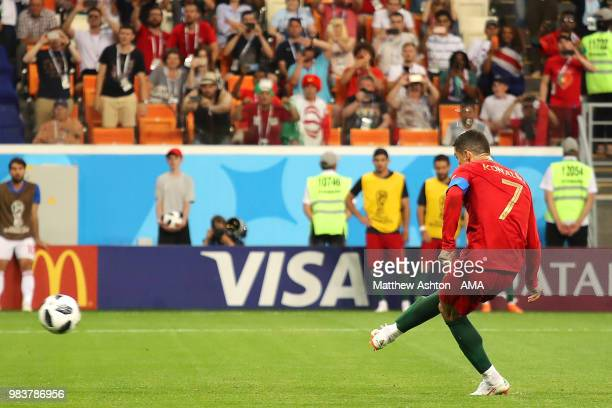 Cristiano Ronaldo of Portugal takes and misses a penalty during the 2018 FIFA World Cup Russia group B match between Iran and Portugal at Mordovia...