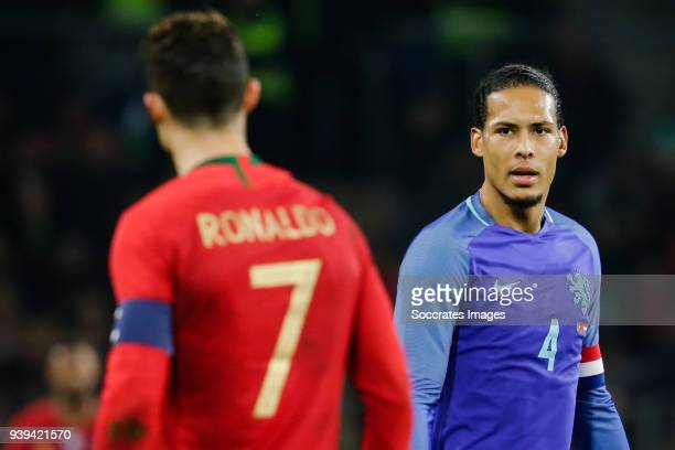 Cristiano Ronaldo of Portugal Virgil of Dijk of Holland during the International Friendly match between Portugal v Holland at the Stade de Geneve on...