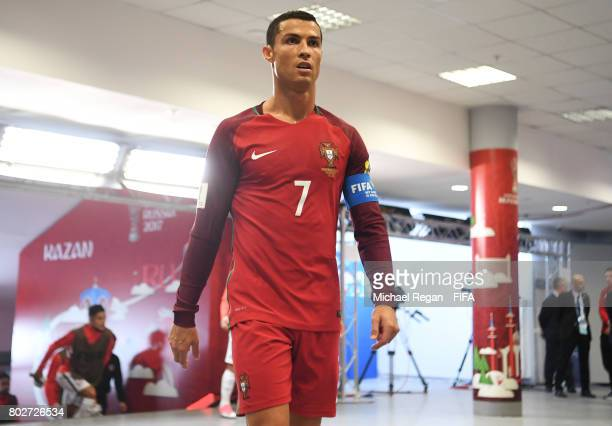 Cristiano Ronaldo of Portugal walks out for the second half during the FIFA Confederations Cup Russia 2017 SemiFinal between Portugal and Chile at...