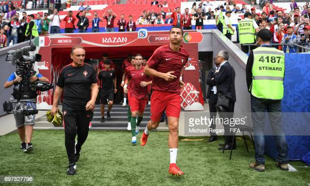 Cristiano Ronaldo of Portugal walks out for the warm up prior to the FIFA Confederations Cup Russia 2017 Group A match between Portugal and Mexico at...