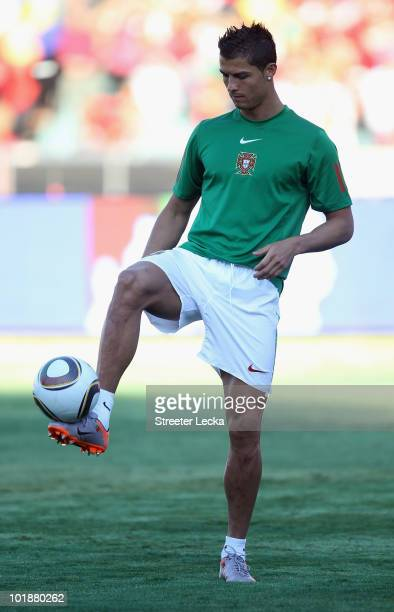 Cristiano Ronaldo of Portugal warms up before the friendly match between Portugal and Mozambique at Wanderers Stadium on June 8 2010 in Johannesburg...