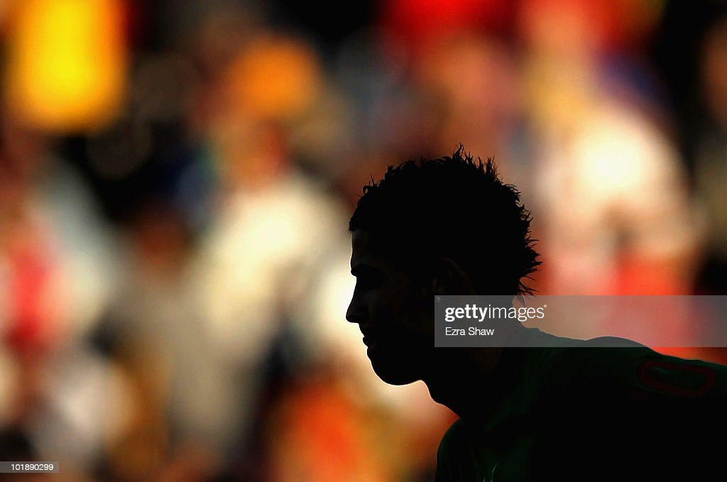 Cristiano Ronaldo of Portugal warms up before their international friendly match against Mozambique at Wanderers Stadium on June 8, 2010 in Johannesburg, South Africa.